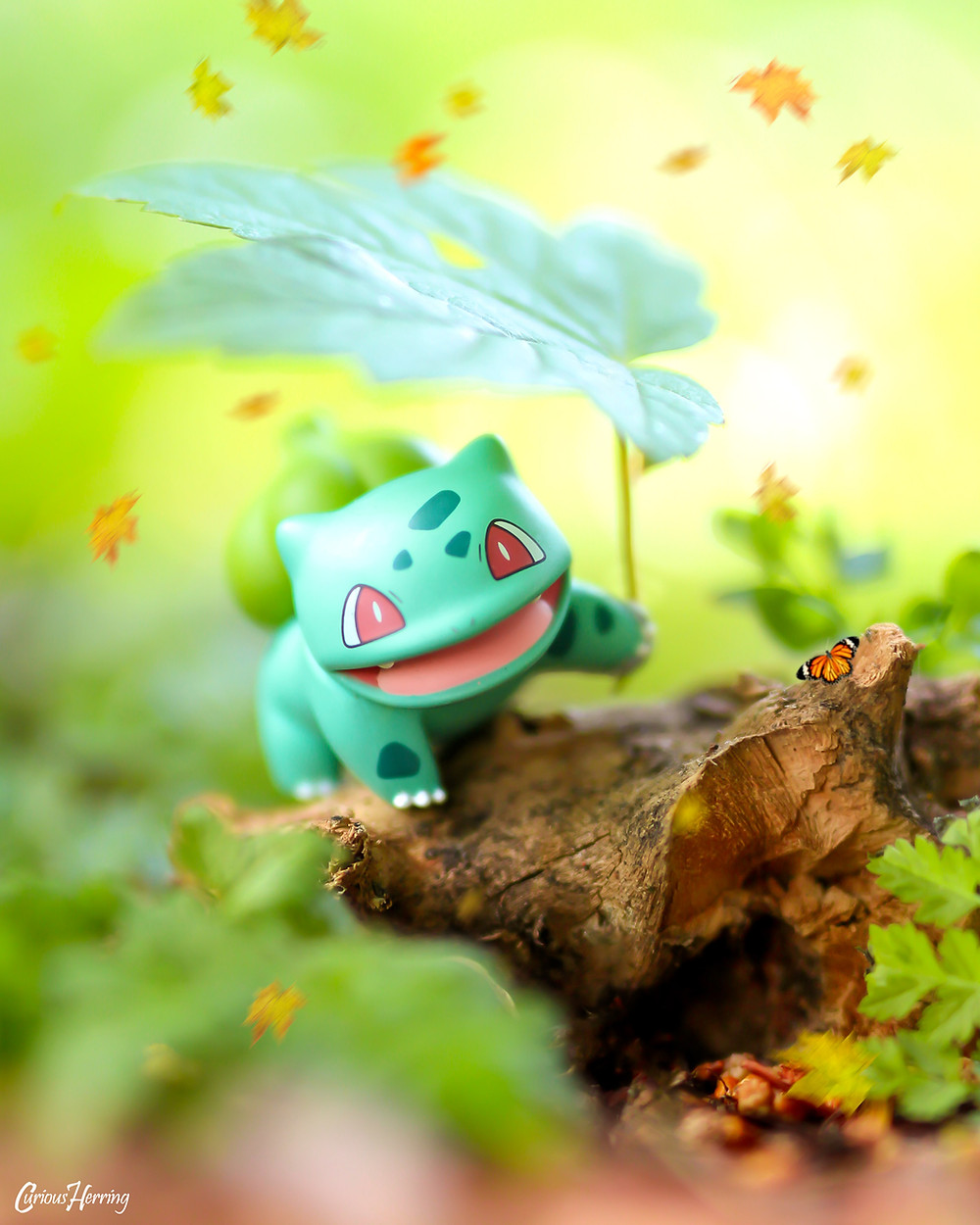 Toy Photography of Bulbasaur from Pokemon. A wild Bulbasaur shades itself from the sun on the woodland floor.