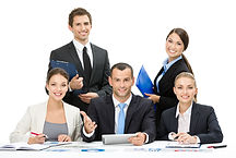 Group of business people working while s
