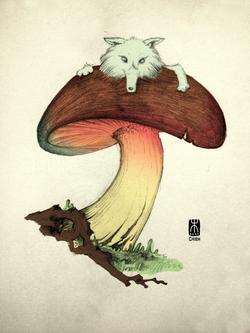 Wolf and Mushroom
