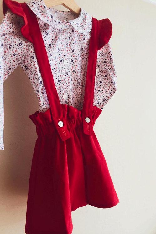 BERGAMO ★ gonna con bretelle velluto rosso millerighe