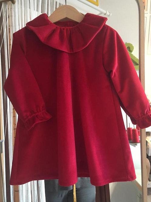 MILANO ★ abito in velluto rosso liscio di cotone