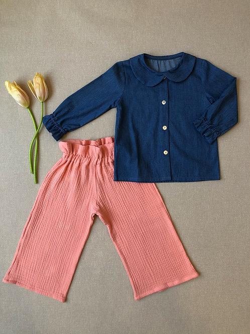 BARCELONA ★ pantalone bambina 100% lino/cotone
