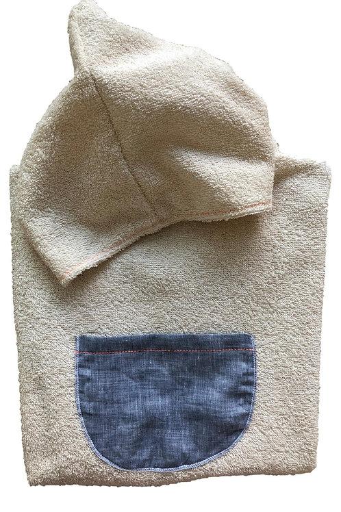FORTE DEI MARMI ★ poncho telo mare beige in cotone con cappuccio e tasca