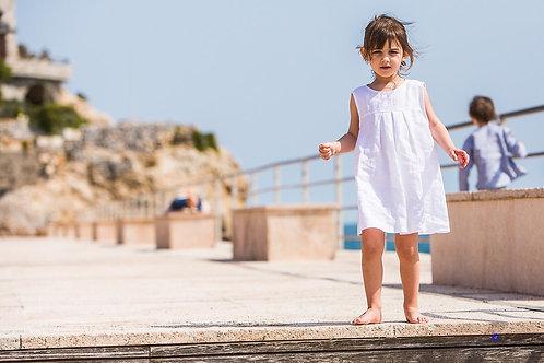 OLIVIA ★  vestito bambina in lino bianco