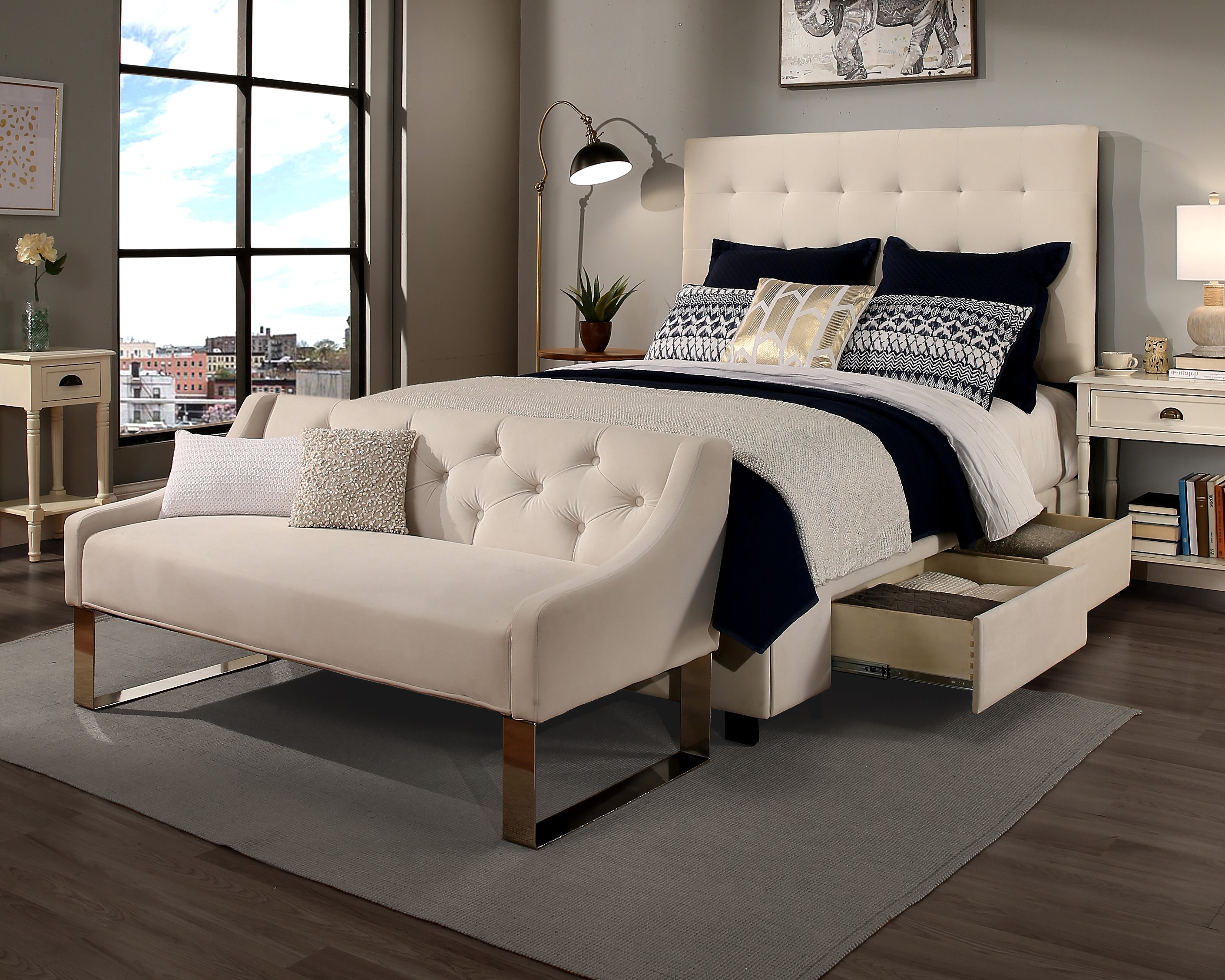 Ivory Manhattan Storage & Sofa (30541-B-S,30542-B-S)