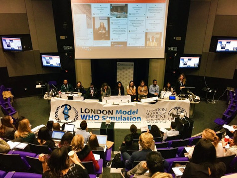 Delegates acting as Media Representatives report on progress of policy resolutions at the London Model WHO Simulation 2017 Press Conference