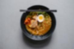 ramen, egg, pork, chili sauce, bamboo shoots