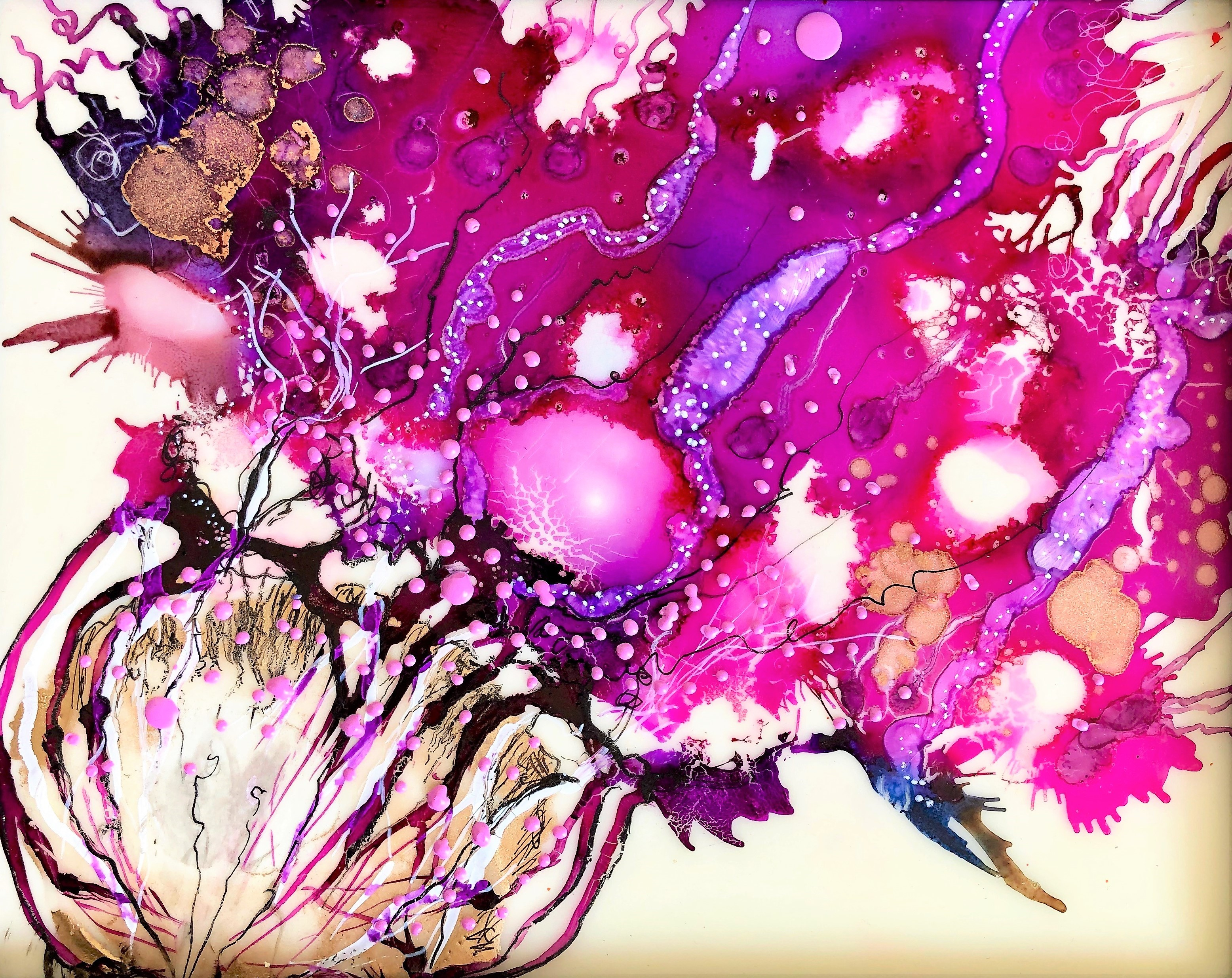 Bursting Forth - Fluid Mixed Media Exploration image