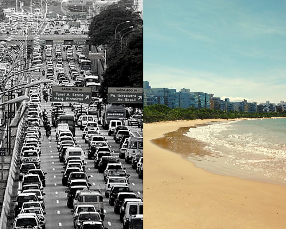 Contrates entre trânsito e praia
