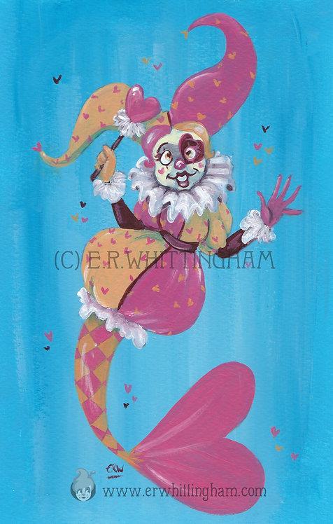 Hearts Jester Mermaid ORIGINAL PAINTING