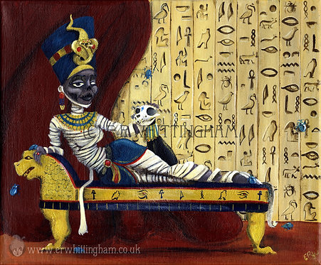 Queen Nefertiti and her Sphinx Cat ORIGINAL PAINTING