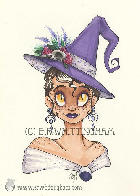 Vintage Witch ORIGINAL INK DRAWING