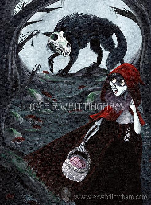 Zombie Red Riding Hood ORIGINAL PAINTING