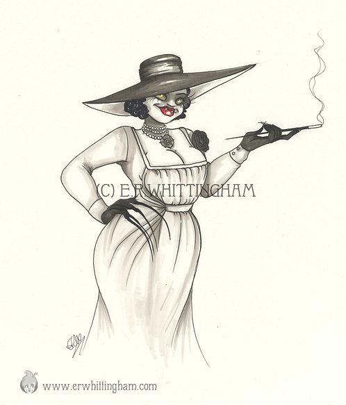 Lady Dimitrescu ORIGINAL INK DRAWING