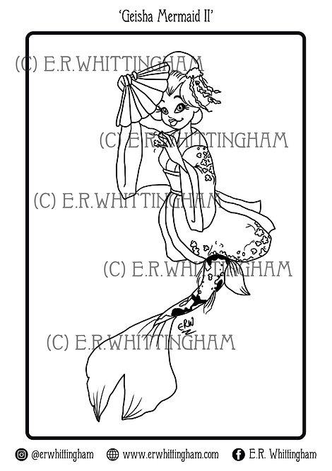 Geisha Mermaid II COLOURING PAGE