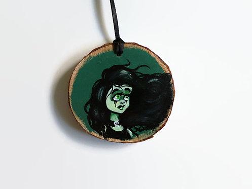 Green Goth Girl HAND PAINTED LOG SLICE