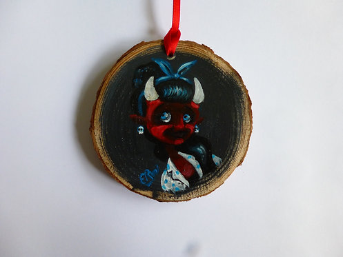 Rockabilly Devil Girl HAND PAINTED LOG SLICE