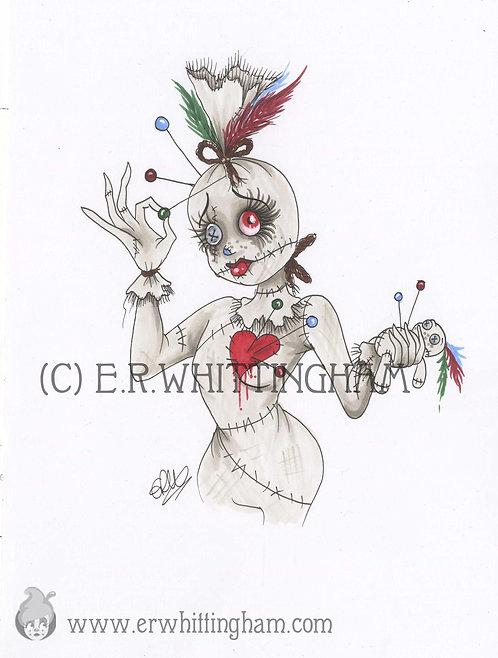 Voodoo Doll ORIGINAL INK DRAWING