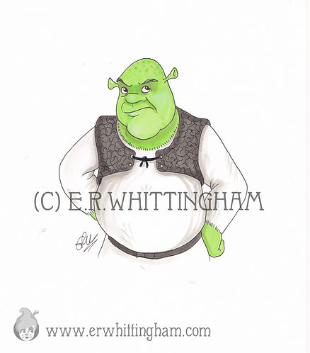 Shrek ORIGINAL INK DRAWING