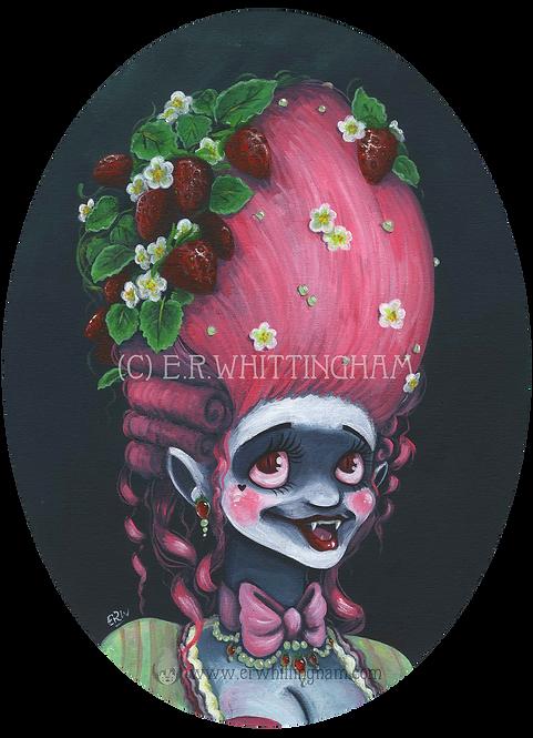 Strawberry Plant Vampire ORIGINAL PAINTING