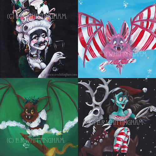 Whimsically Gothic 5 CHRISTMAS CARDS