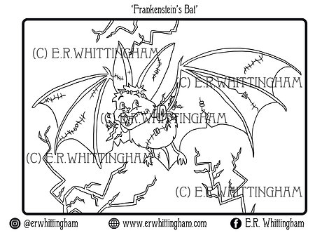 Frankenstein's Bat COLOURING PAGE