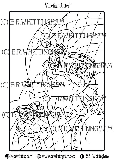 Venetian Jester COLOURING PAGE