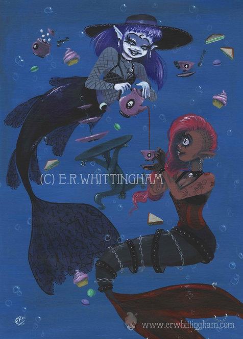 Goth Mermaids Tea Party ART PRINT