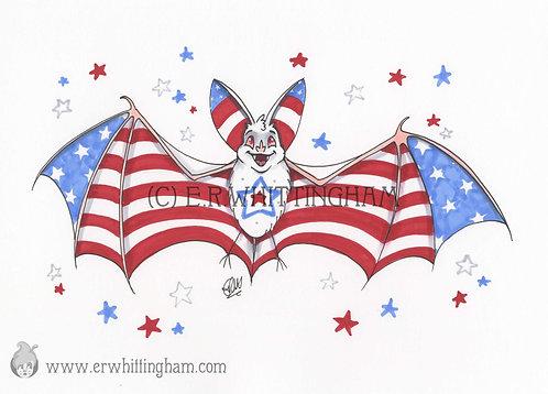 Fourth of July Bat ORIGINAL INK DRAWING