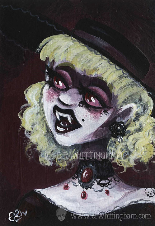 Vampire Goth Girl ORIGINAL MINIATURE PAINTING