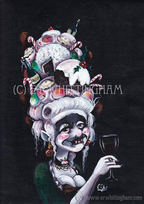 Tipsy Christmas Vampire ORIGINAL PAINTING