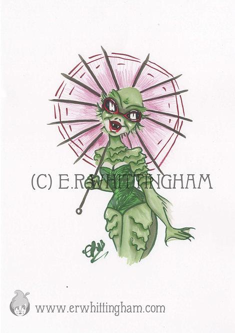 Tiki Swamp Creature ORIGINAL INK DRAWING