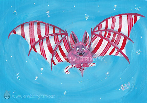 Candy Cane Bat GREETINGS CARD
