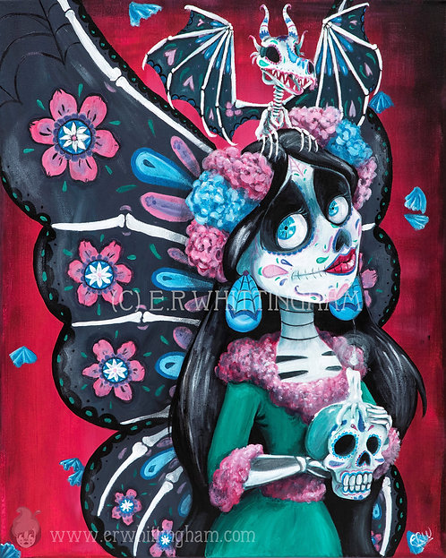 Sugar Skull Fairy & Dragon GREETINGS CARD