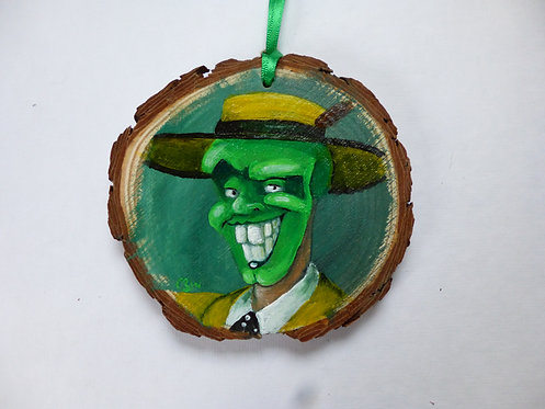 The Mask HAND PAINTED LOG SLICE