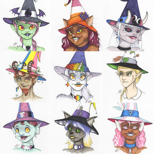 Pride Witches ORIGINAL INK DRAWINGS