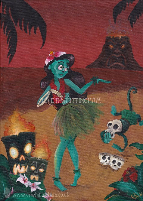 Zombie Tiki Sunset ORIGINAL PAINTING