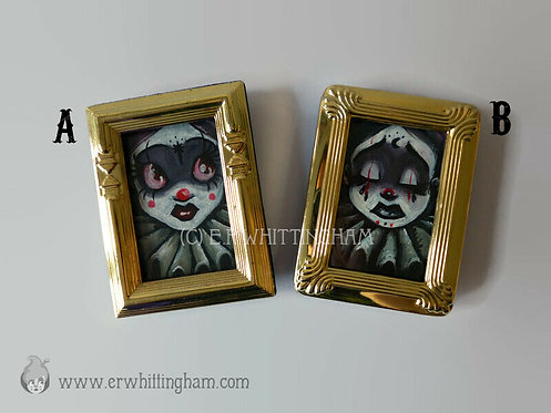 Clown Girls ORIGINAL MINIATURE PAINTINGS
