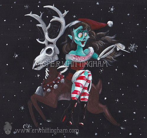 Christmas Zombie and Reindeer GREETINGS CARD