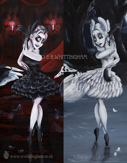 Gothic Swan Lake GREETINGS CARDS