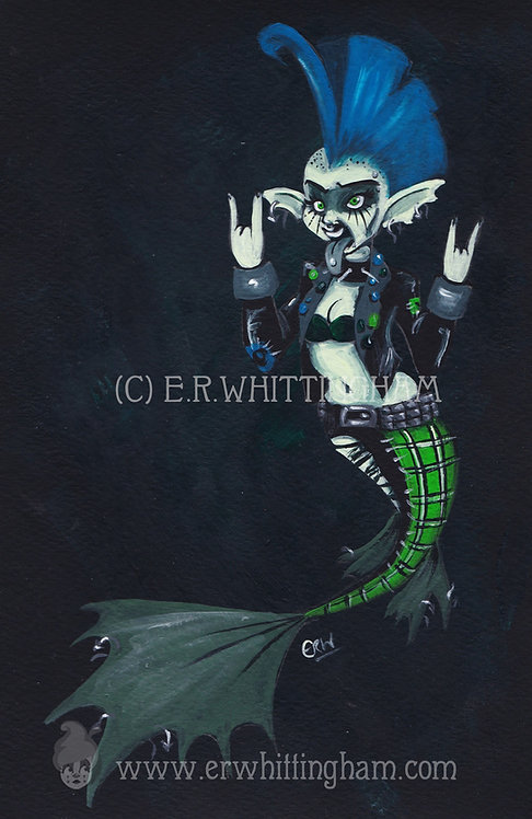 Punk Mermaid ORIGINAL PAINTING