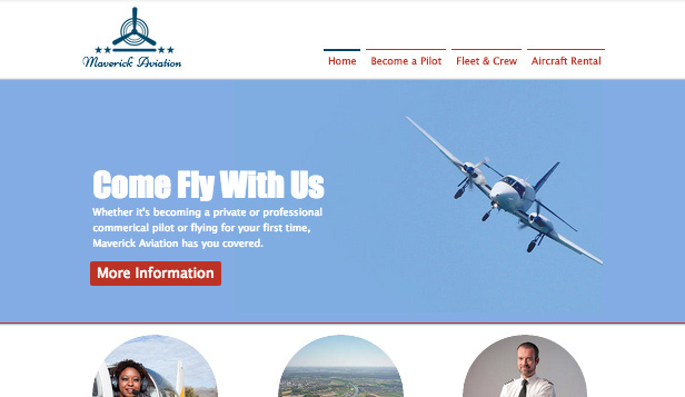 Education website templates – Flight School