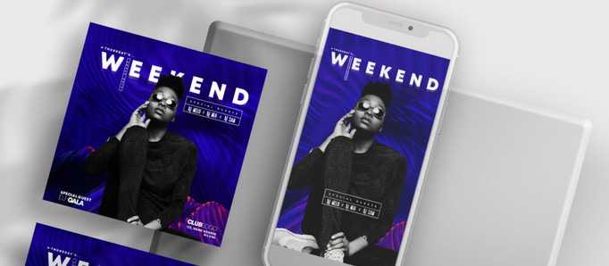 Club House Weekend Free Instagram Banners (PSD)