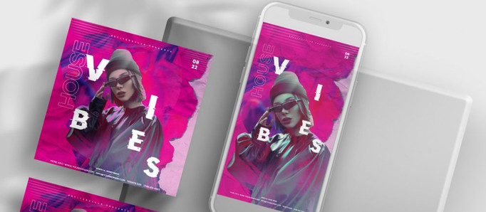 Pink Vibe Party Free Instagram Banners Templates (PSD)
