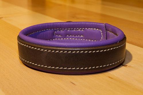 Edles Leder Halsband dunkelbraun/lila