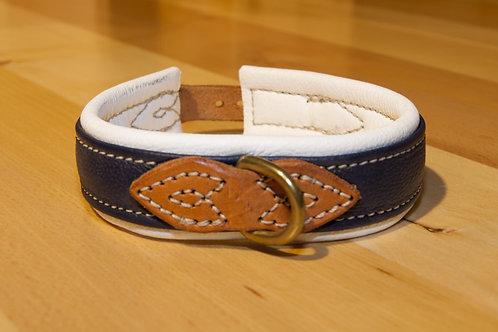 Leder Halsband Blau / Weiss