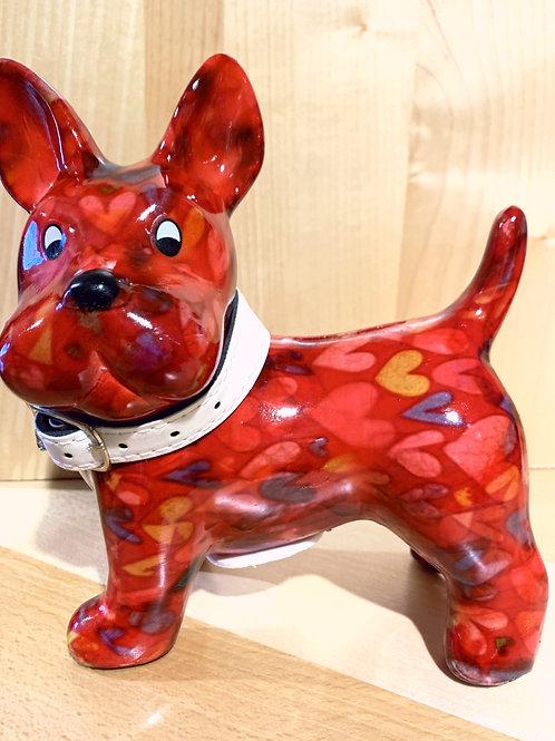 "Hundespardose Keramik ""Boomer"" rot"
