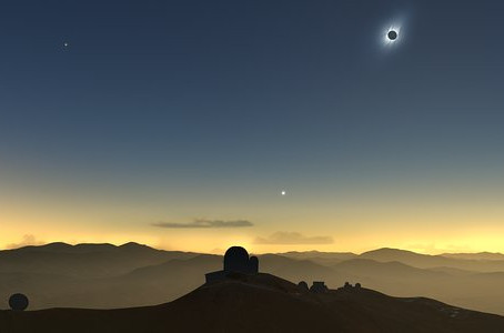 Evento do eclipse total do Sol de 2019 no Observatório de La Silla do ESO no Chile