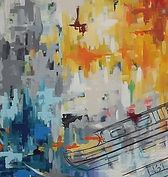canal boat, painting, abstract art, rolling bridge