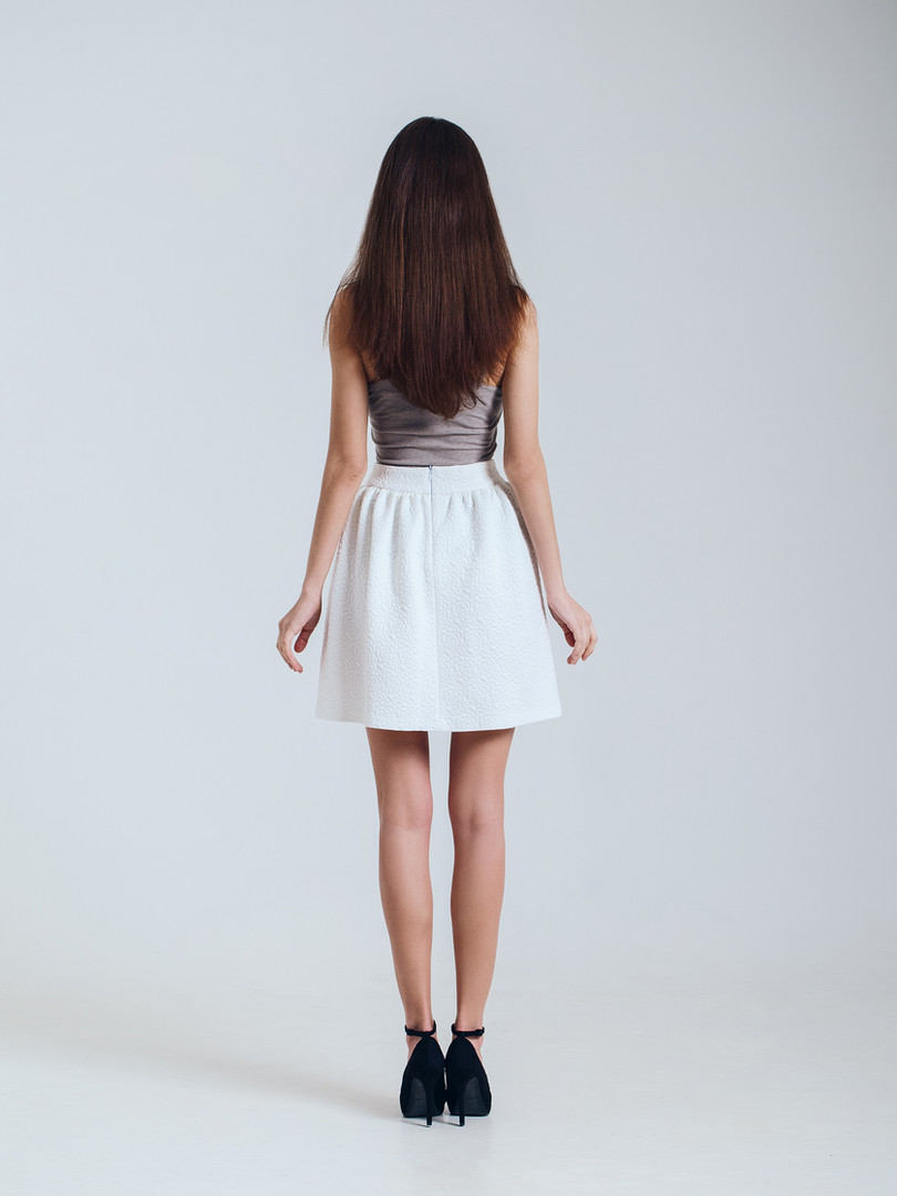 Fashion Model with White Skirt